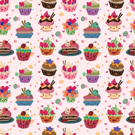 seamless cake pattern Illustration