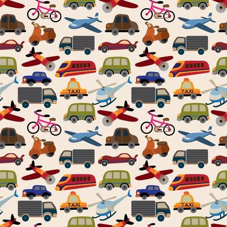 train cartoon: seamless transport pattern