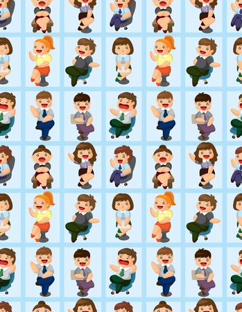 happy office worker seamless pattern Stock Vector - 12236643