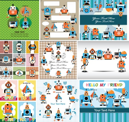 robot caricatura: de dibujos animados tarjeta de robot Vectores
