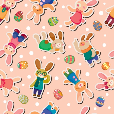Easter rabbit and egg seamless pattern Vector