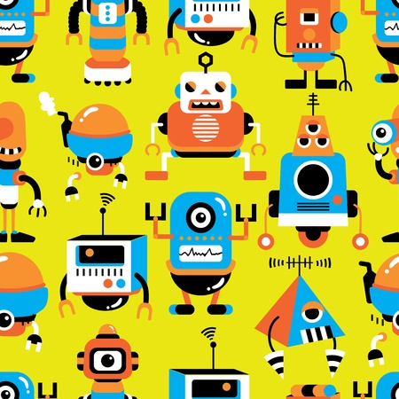 seamless robot pattern Stock Vector - 12236602