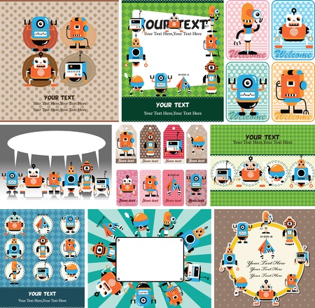 funny robot: cartoon robot card