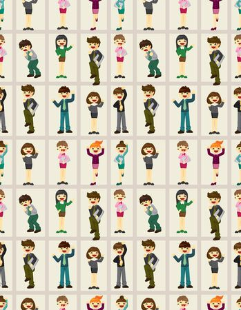 happy office worker seamless pattern Vector