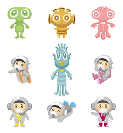 alien and astronaut icons Vector