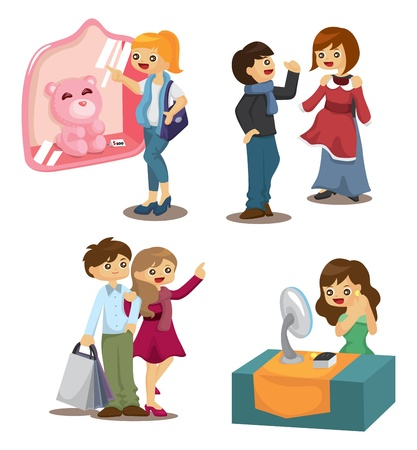 set of shopping people Vector