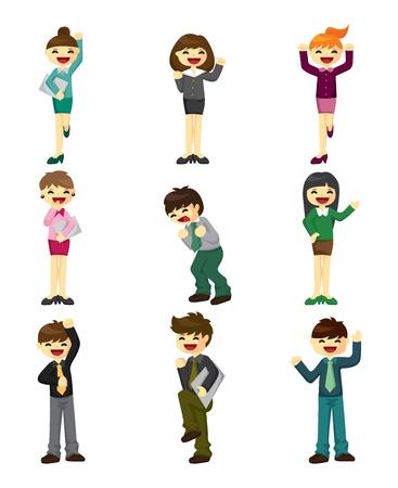 cartoon happy office workers icon Vector
