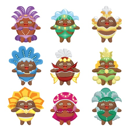 set of carnival costume people Vector