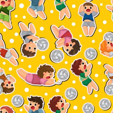 volleyball player seamless pattern Vector