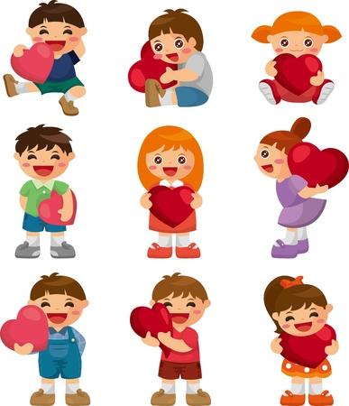 set of kid hug heart Vector