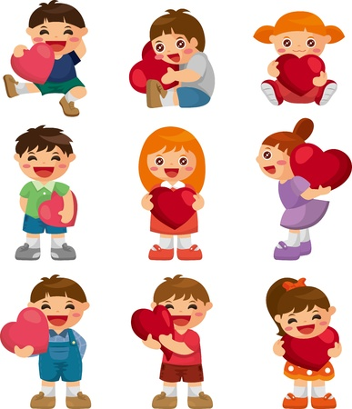 set of kid hug heart Stock Vector - 12236640