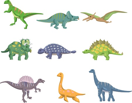 dinosaurio caricatura: de dibujos animados icono de los dinosaurios Vectores