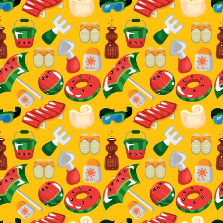 beach accessories seamless pattern Vector