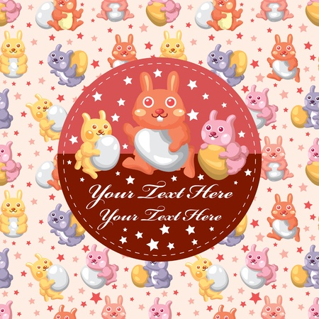 Easter rabbit and egg card Vector
