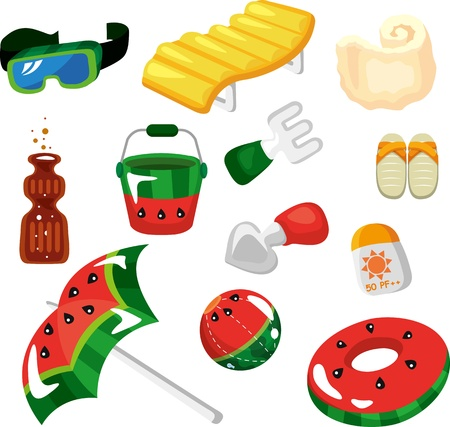 Vector illustration of beach accessories on a white background