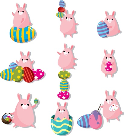 cartoon easter rabbit and egg icon  Vector