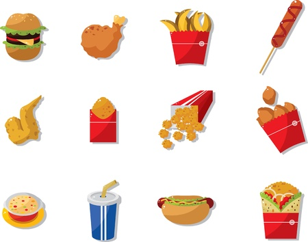 fried: cartoon fast food icon  Illustration