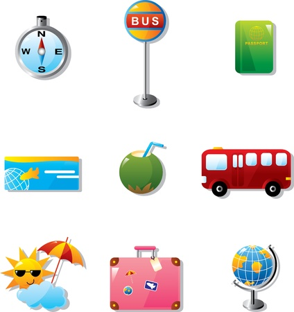 tourists stop: Illustration of vacation and travel icons