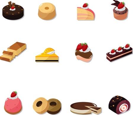 cartoon cake icons set 矢量图像