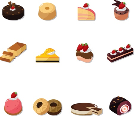 cartoon cake icons set  Vector