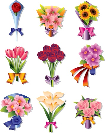 flowers cartoon: flower bouquet icons