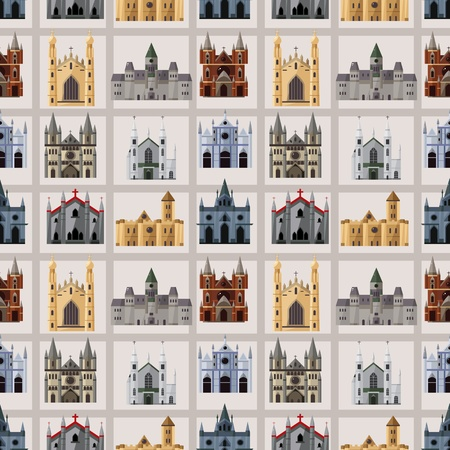 cartoon Fairy tale castle seamless pattern  Vector