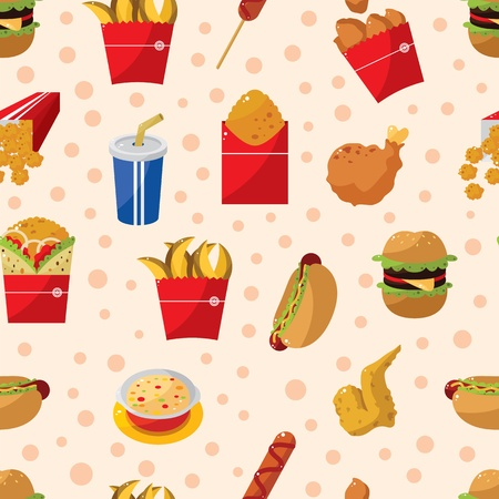 seamless fast food pattern Vector