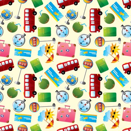 travel icons seamless pattern  Vector