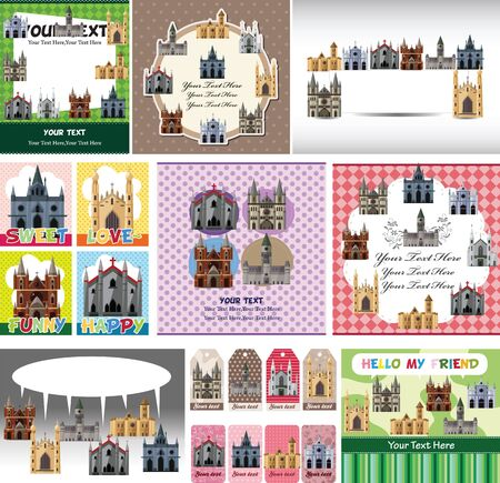 church building: cartoon castle card