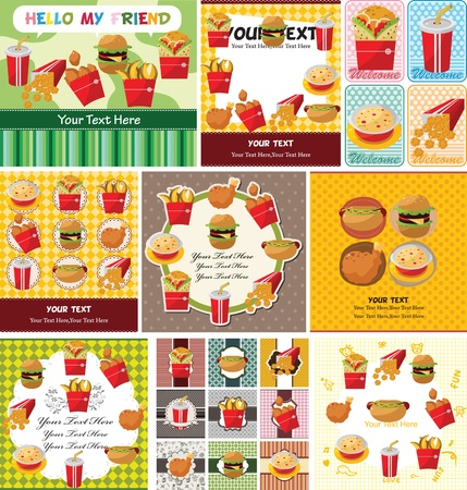 cartoon fast food card Vector