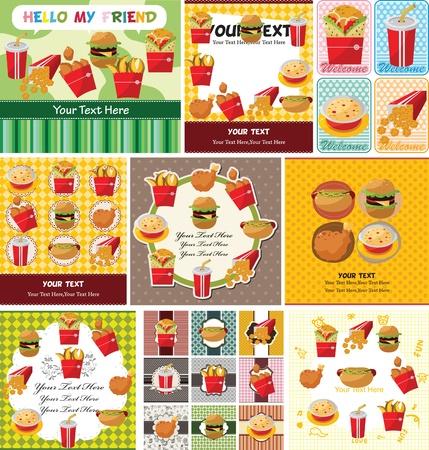 sandwich de pollo: de dibujos animados de tarjetas de comida r�pida