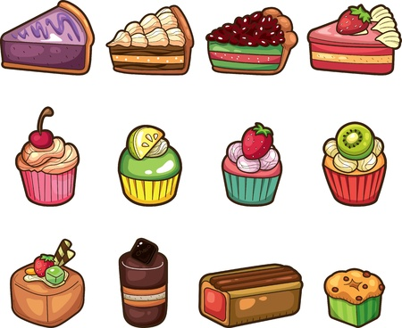 wedding cake: cartoon cake icons set  Illustration