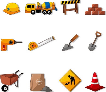 under construction sign: Set of construction object