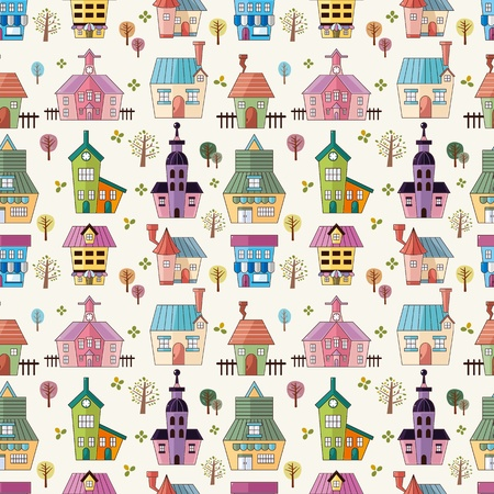 country church: seamless house pattern  Illustration