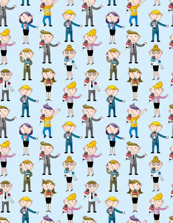 reporter people seamless pattern Stock Vector - 12371428