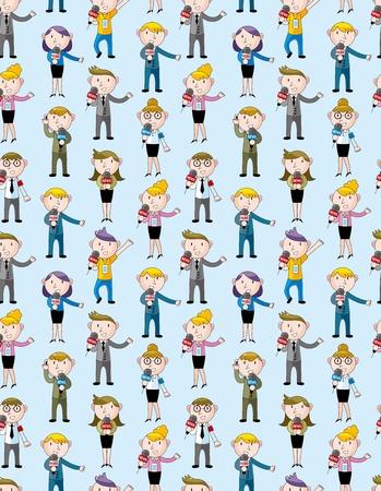 anchorman:  reporter people seamless pattern Illustration
