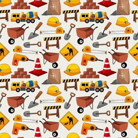 建設: 建設オブジェクトのシームレスなパターン  イラスト・ベクター素材