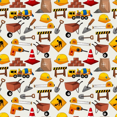 construction safety: construction object seamless pattern