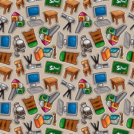 Cartoon school icons seamless pattern Vector