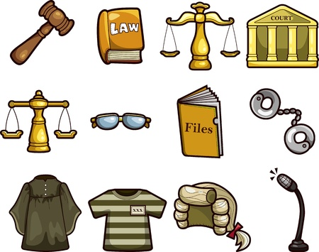 prosecutor: law icons Illustration