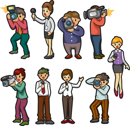 set of reporter people Stock Vector - 12487935