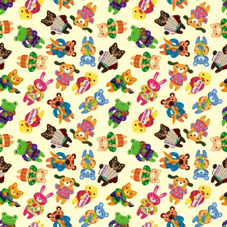 animal play music seamless pattern Vector