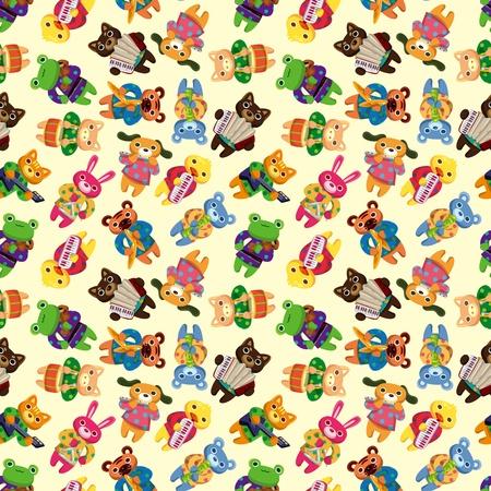 animal play music seamless pattern Vector