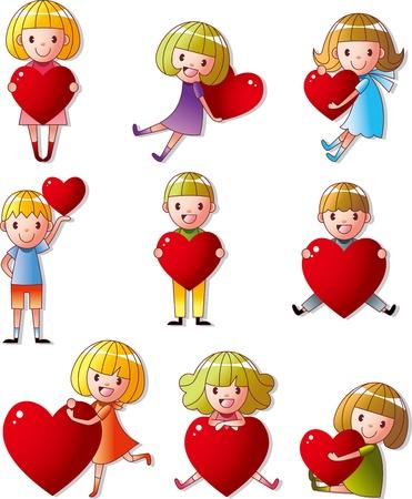 set of kid hug heart Vectores