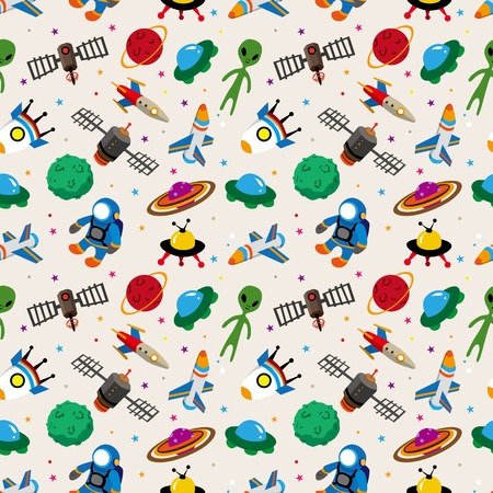 astronaut in space: seamless space pattern Illustration