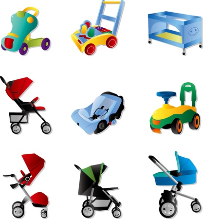 baby chair: set of baby carriage Illustration