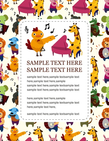 fife: animal play music card Illustration