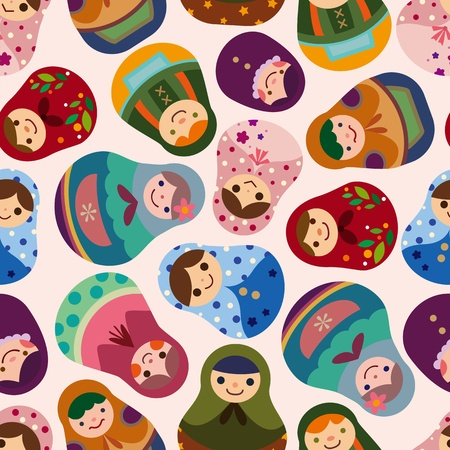 seamless Russian doll pattern Vector