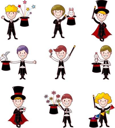 sombrero de mago: conjunto de mago de la historieta Vectores
