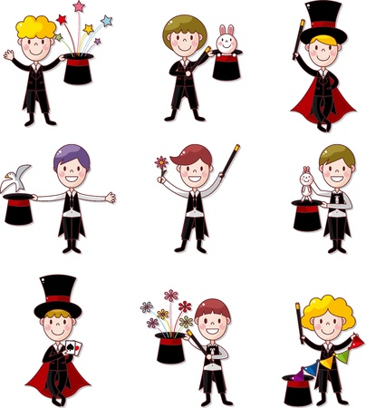 set of Cartoon magician Vector